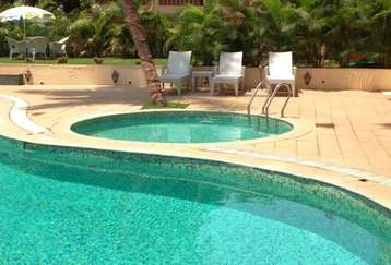 swimming pool at sukhmantra resort Goa