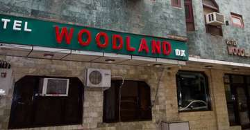 Exterior view of Woodland Deluxe Hotel in Paharganj